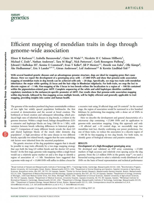 Efficient mapping of mendelian traits in dogs thro