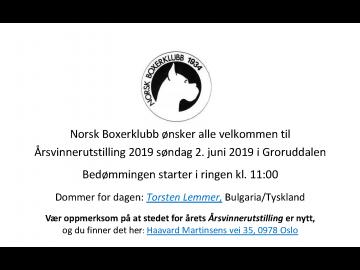 PM med dommerstatistikk til Årsvinnerutstillingen 02.06.2019 - husk utstillingen arrangeres nytt sted!