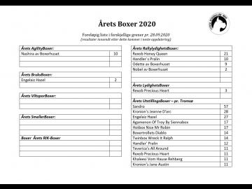 Årets Boxer i forskjellige grener - innsendte resultater pr. 28.09.2020 - Samlet foreløpig liste